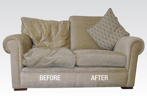 Before and after fix sagging sofa